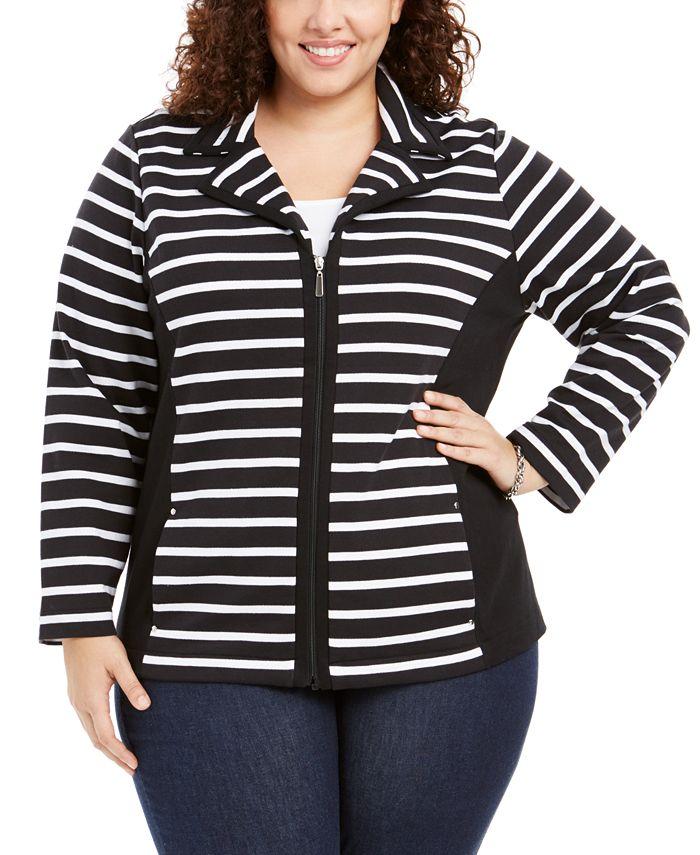 Karen Scott - Plus Size Notch Collar Zip-Front Jacket