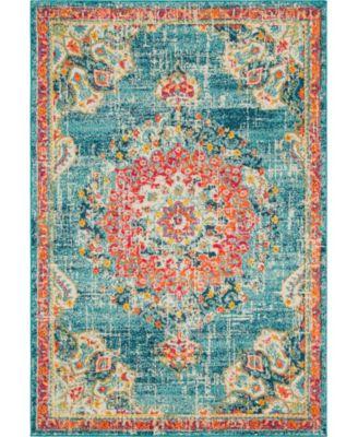 Lorem Lor1 Turquoise 6' x 6' Round Area Rug