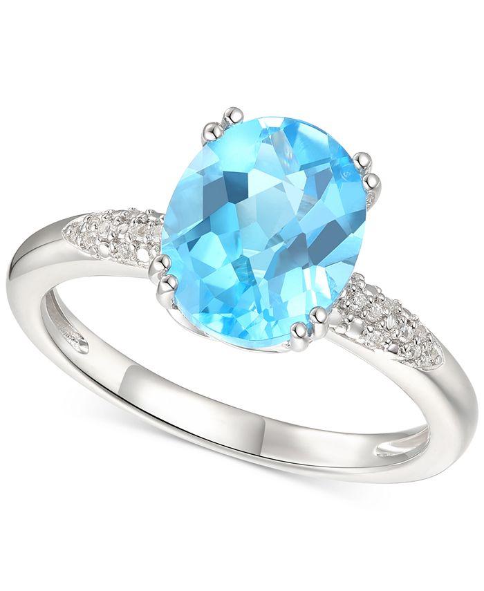 Macy's - Blue Topaz (2-3/4 ct. t.w.) & Diamond (1/20 ct. t.w.) Ring in Sterling Silver