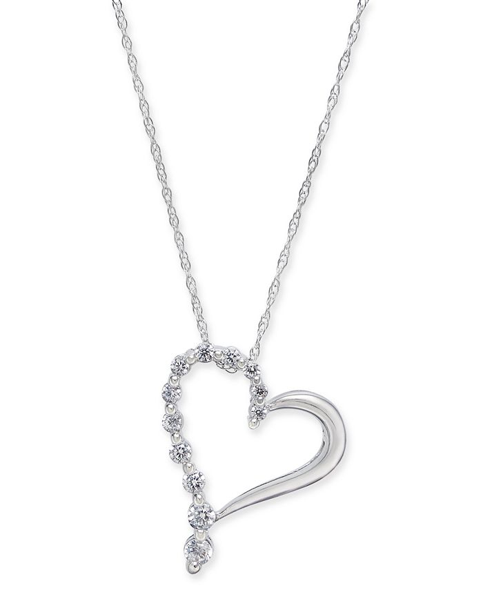 "Macy's - Diamond Open Heart 18"" Pendant Necklace (1/4 ct. t.w.) in 14k White Gold"