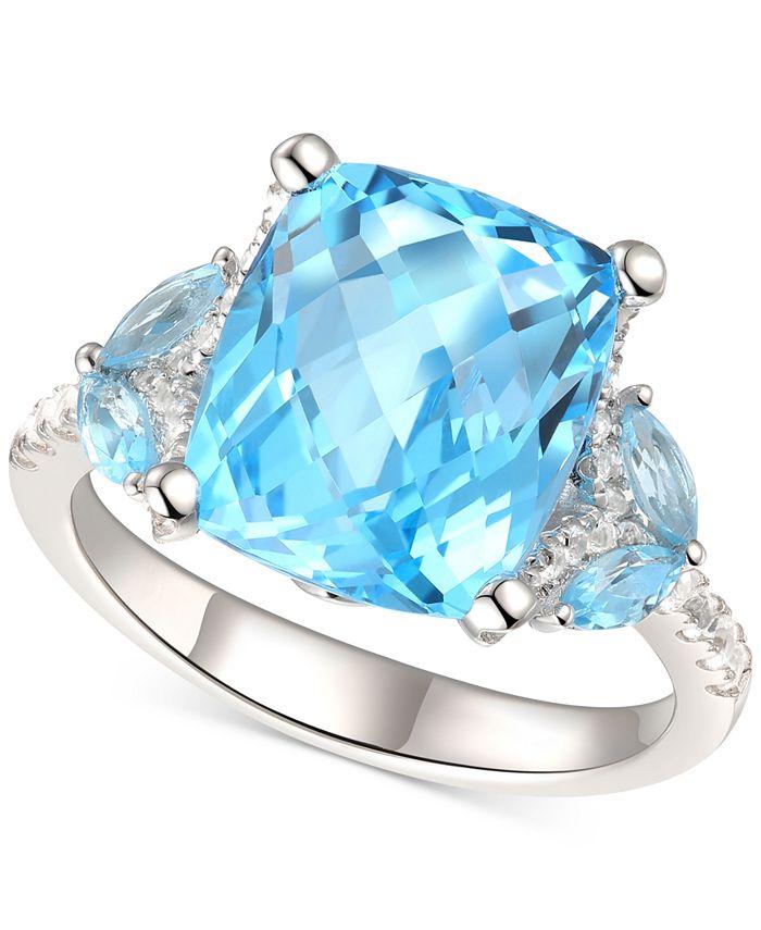 Macy's - Blue Topaz (5 ct. t.w.) & White Topaz (1/4 ct. t.w.) Ring in Sterling Silver