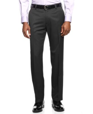 Perry Ellis Portfolio Dress Pants, No Iron Slim Fit Flat Front ...