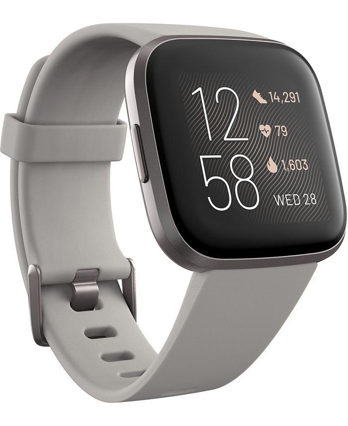 Fitbit - Women's Versa 2 Mist Gray Elastomer Strap Touchscreen Smart Watch 39mm