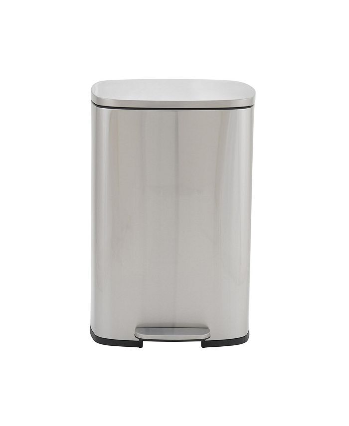 Household Essentials - Stainless Steel 50L Canyon Rectangular Trash Can