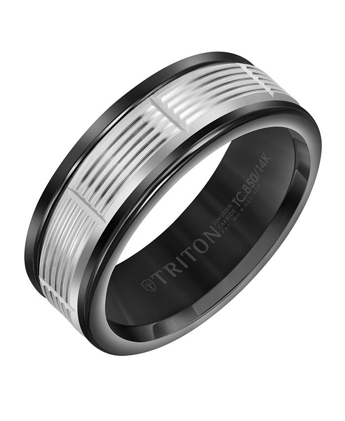 Triton - 8MM Black Tungsten Carbide Ring with 14K White Gold Serrated Vertical Cut Insert