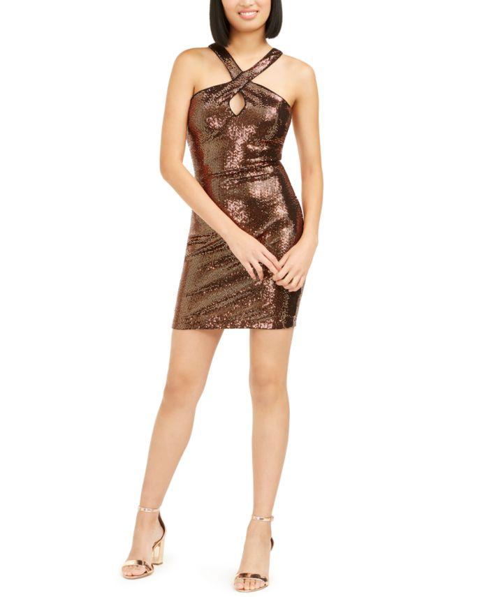 GUESS Sequined Halter Sheath Dress & Reviews - Dresses - Women - Macy's