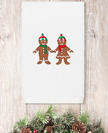 Linum Home Christmas Gingerbread Embroidered 100% Turkish Cotton Hand Towel