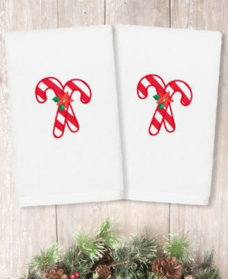 Christmas Candy Canes Embroidered 100% Turkish Cotton 2-Pc. Hand Towel Set