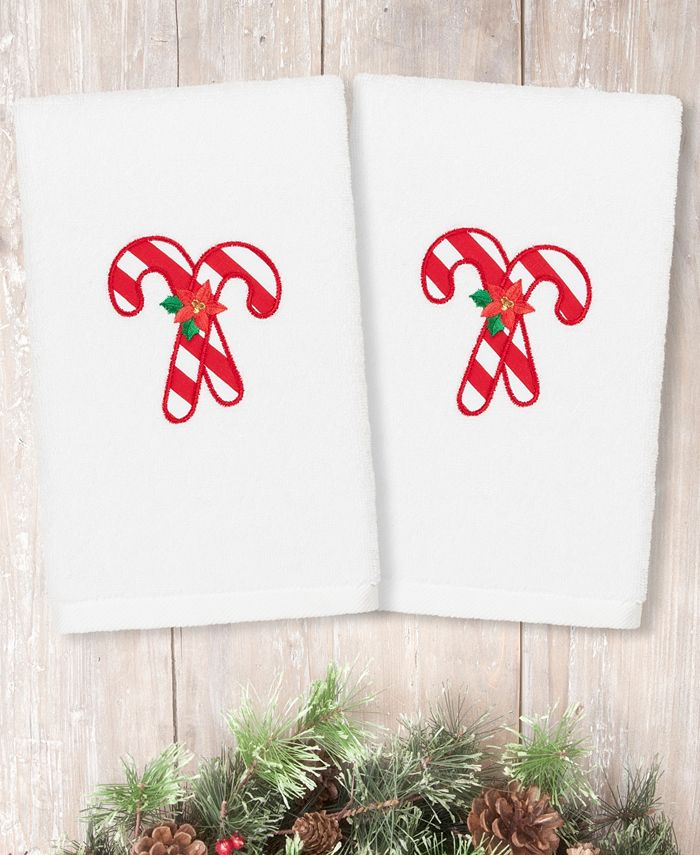 Linum Home - Christmas Candy Canes Embroidered 100% Turkish Cotton 2-Pc. Hand Towel Set