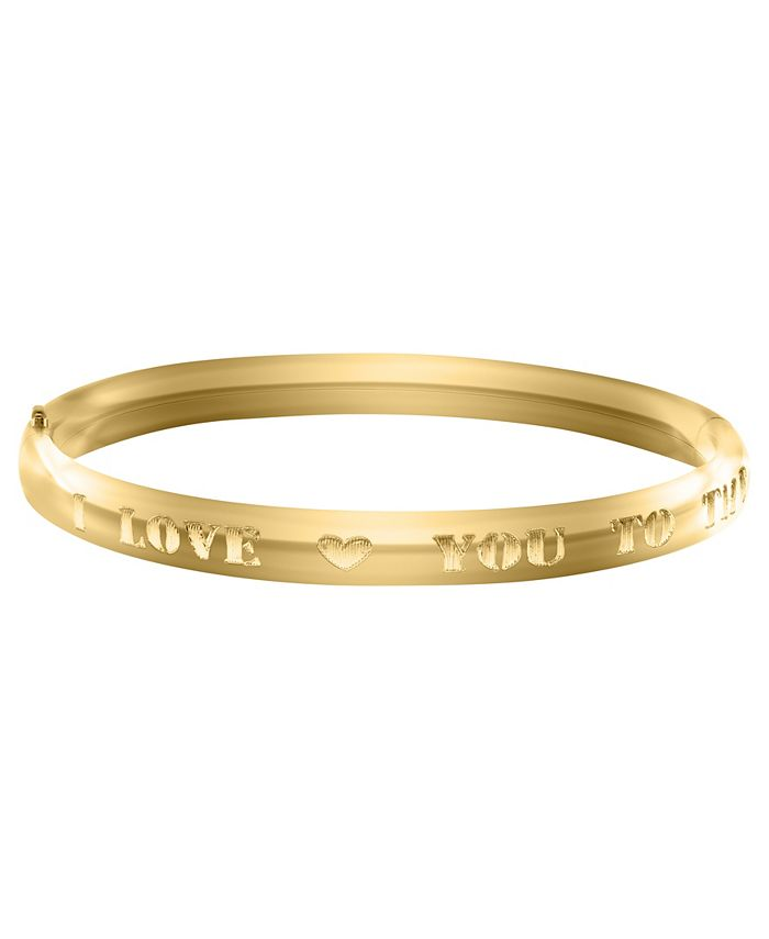 Macy's - Children's I LOVE U TO THE MOON Bracelet in 14k Yellow Gold over Brass Alloy