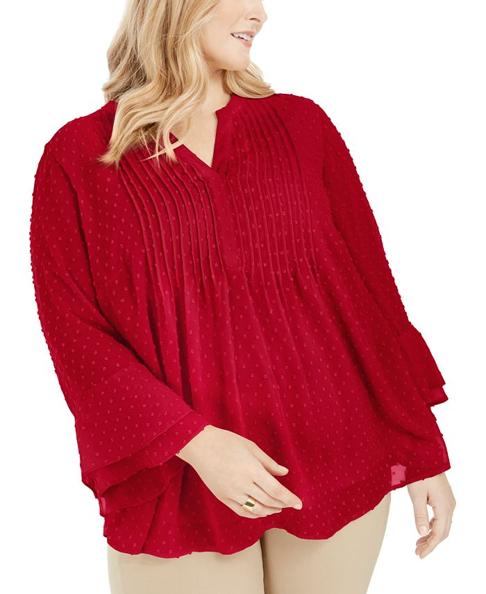 Charter Club - Plus Size Ruffled-Sleeve Dot-Pattern Top, Created for Macy's
