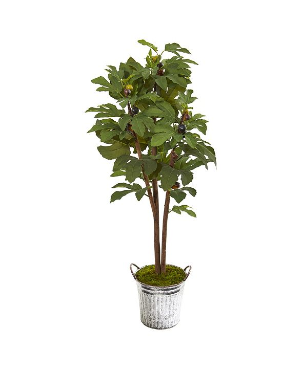 Nearly Natural 4' Fig Artificial Tree in Vintage Metal Planter