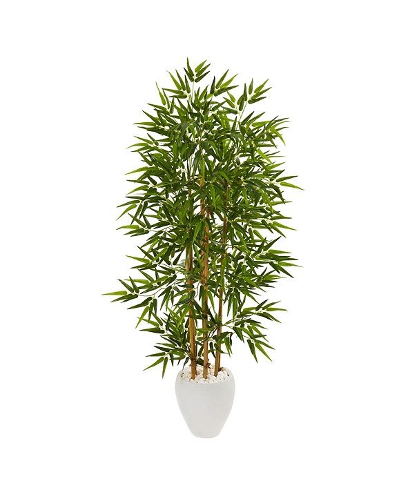 """Nearly Natural 63"""" Bamboo Artificial Tree in White Planter"""