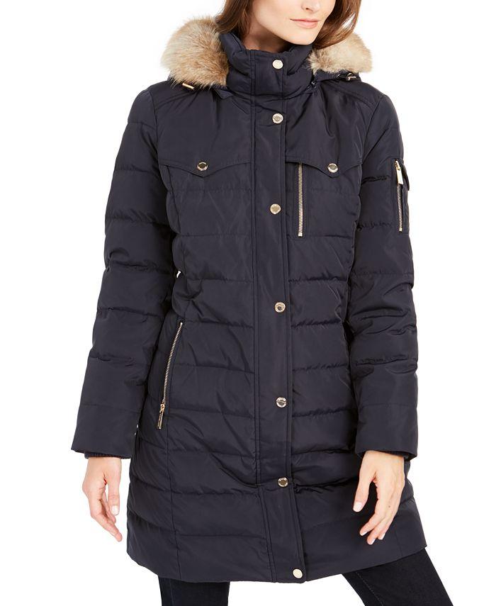 Michael Kors - Faux-Fur-Trim Hooded Puffer Coat