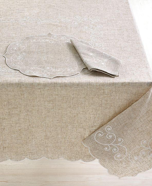 "Lenox French Perle Embroidered 70"" Round Tablecloth"