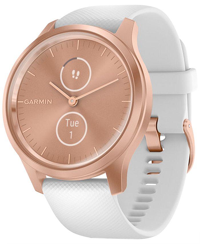 Garmin - Unisex Vívomove Style White Silicone Strap Touchscreen Hybrid Smart Watch 42mm