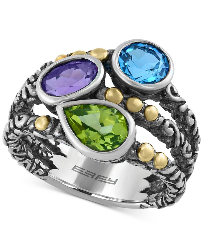EFFY Collection - Multi-Gemstone (2-5/8 ct. t.w.) Ring in Sterling Silver and 18k Gold Over Sterling Silver