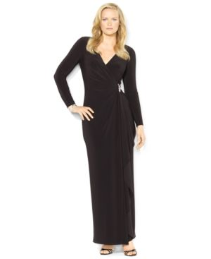 Lauren Ralph Lauren Plus Size Long-Sleeve Jersey Gown