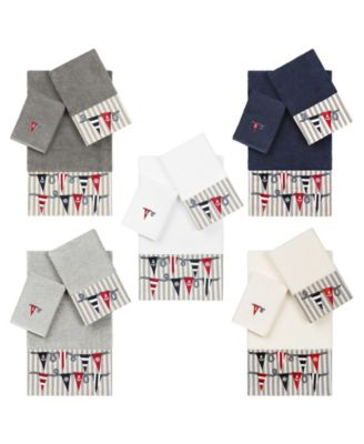 100% Turkish Cotton Ethan 2-Pc. Embellished Hand Towel Set