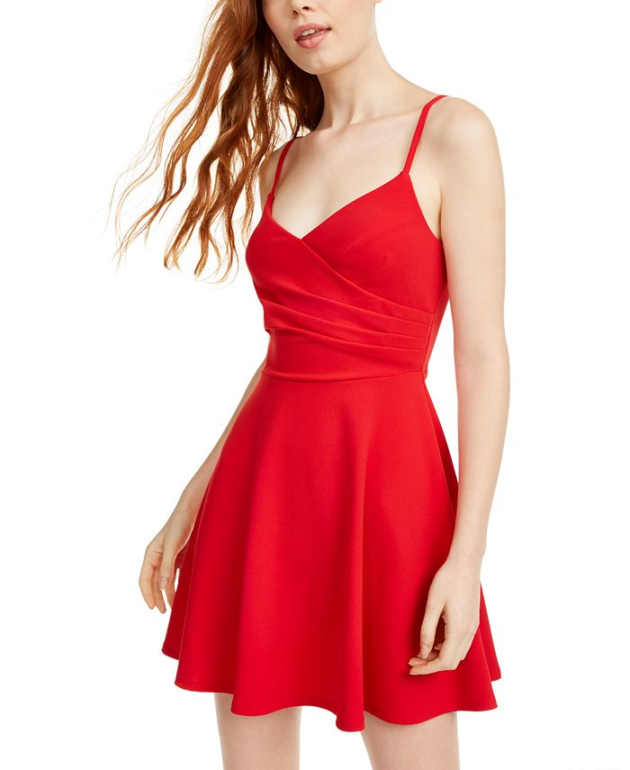 Trixxi - Juniors' Ruched Sleeveless Fit & Flare Dress