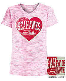 5th & Ocean Big Girls Seattle Seahawks Heart Flip Sequin T-Shirt