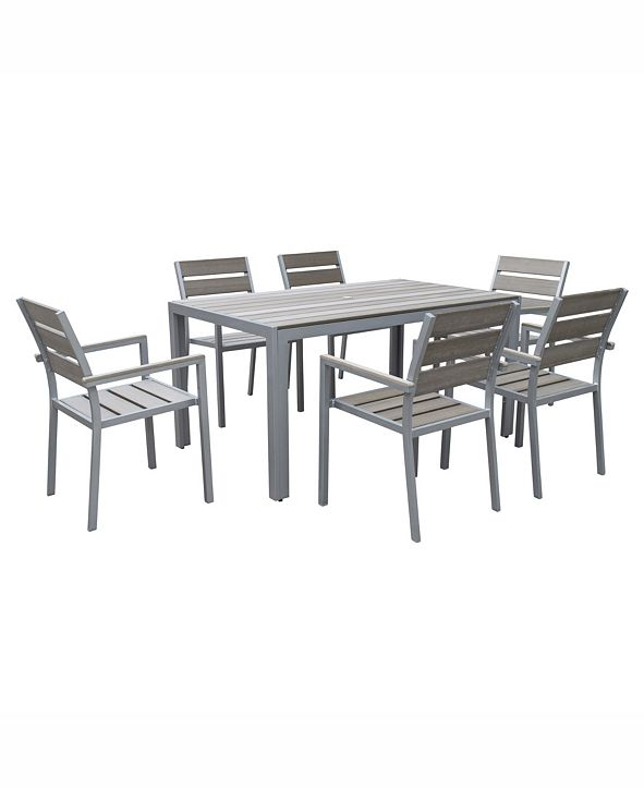 CorLiving Distribution Gallant 7 Piece Sun Bleached Outdoor Dining Set