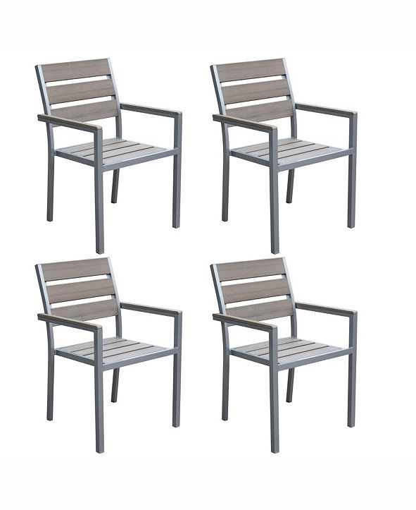 CorLiving Distribution Gallant Sun Bleached Outdoor Dining Chairs, Set of 4