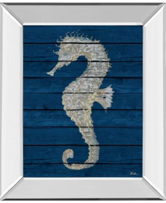 """Antique Seahorse on Blue Il by Patricia Pinto Mirror Framed Print Wall Art - 22"""" x 26"""""""