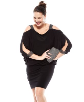 betsy & adam plus size split-sleeve blouson dress - dresses