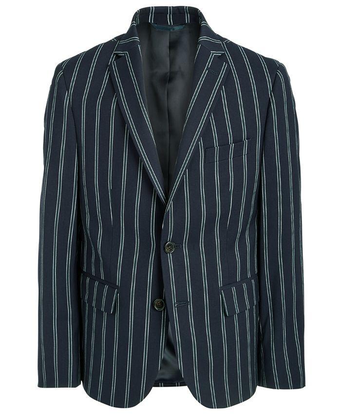 Lauren Ralph Lauren - Big Boys Classic-Fit Stretch Navy Blue Stripe Sport Coat