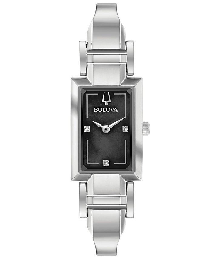 Bulova - Women's Diamond-Accent Stainless Steel Bangle Bracelet Watch 18x33mm