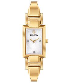 Bulova Women's Diamond-Accent Gold-Tone Stainless Steel Bangle Bracelet Watch 18x33mm