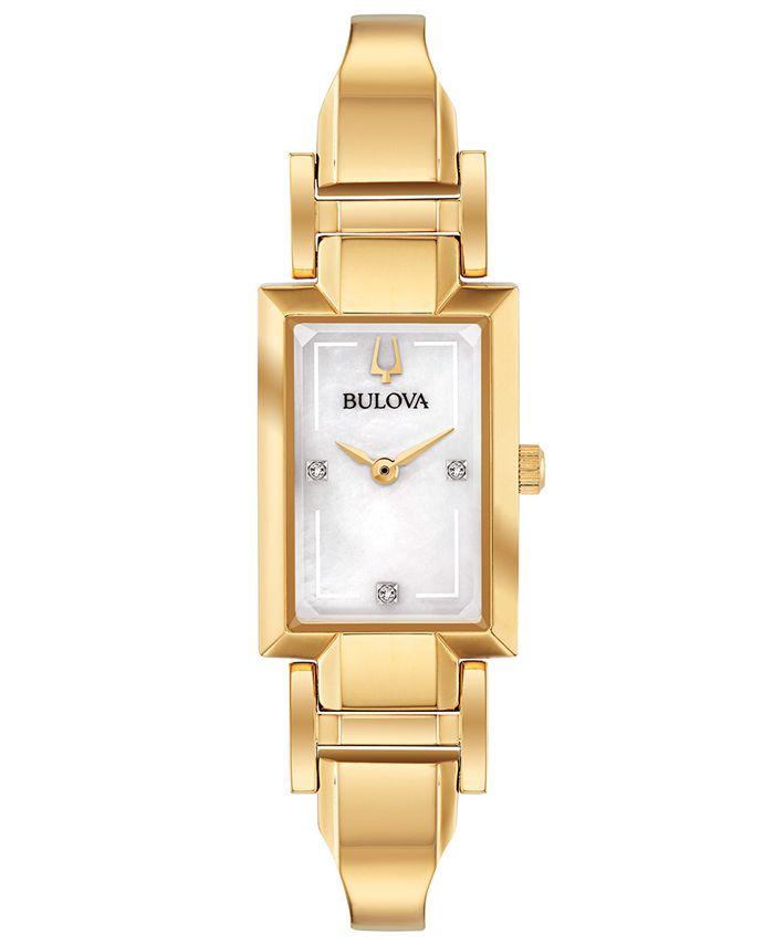 Bulova - Women's Diamond-Accent Gold-Tone Stainless Steel Bangle Bracelet Watch 18x33mm