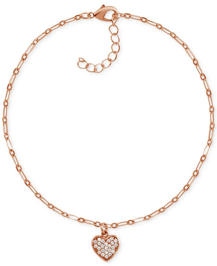 Essentials - Crystal Heart Anklet in Rose Gold-Plate