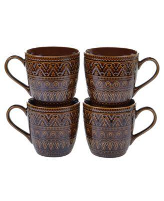 Certified International Aztec Brown 4-Pc. Mugs