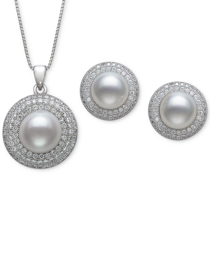 Macy's - 2-Pc. Set Cultured Freshwater Pearl (8 & 10mm) & Cubic Zirconia Pendant Necklace & Matching Stud Earrings in Sterling Silver