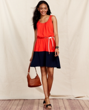 Tommy Hilfiger Dress, Sleeveless A-Line Colorblock