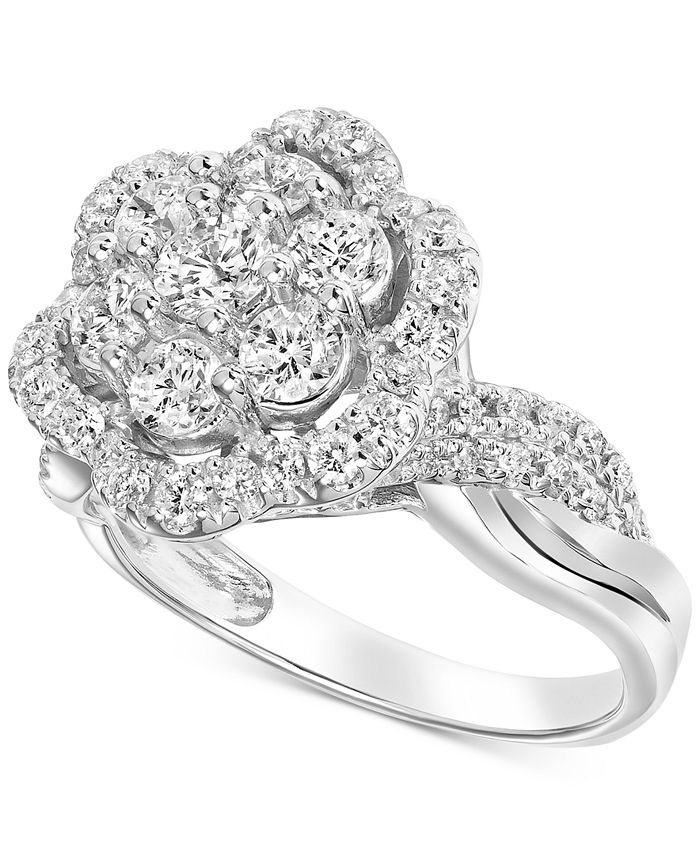 Macy's - Diamond Flower Halo Cluster Engagement Ring (1-1/2 ct. t.w.) in 14k White Gold