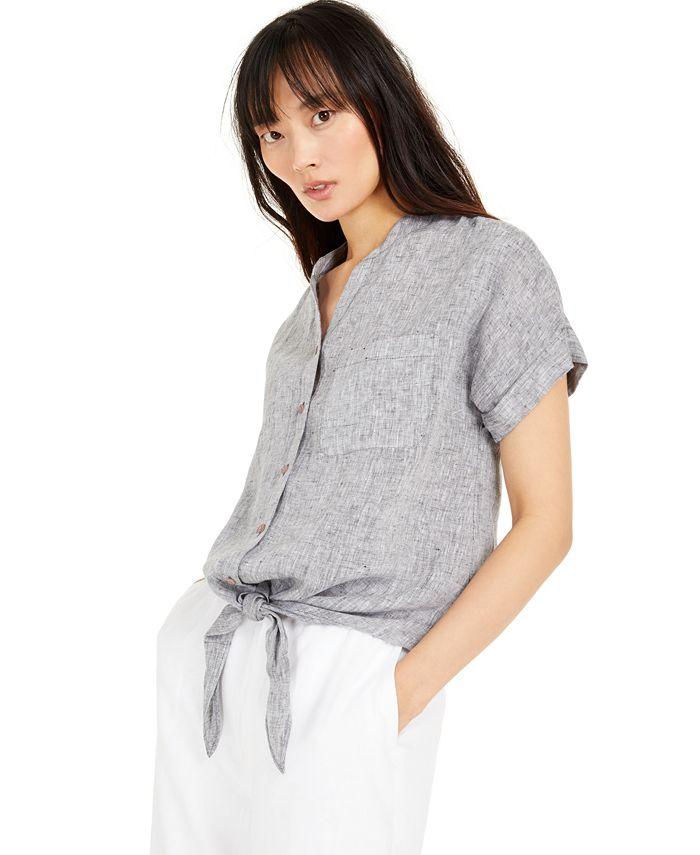 Charter Club - Linen Tie-Front Button-Up Shirt