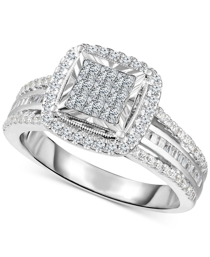 TruMiracle - Diamond Halo Cluster Engagement Ring (1 ct. t.w.) in 10k White Gold