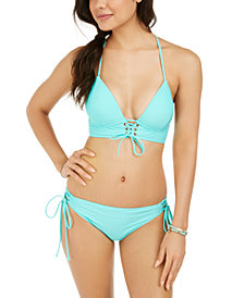 Hula Honey Juniors' Solid Lace-Up Push-Up Midkini Bikini Top & Hipster Bottoms, Created for Macy's