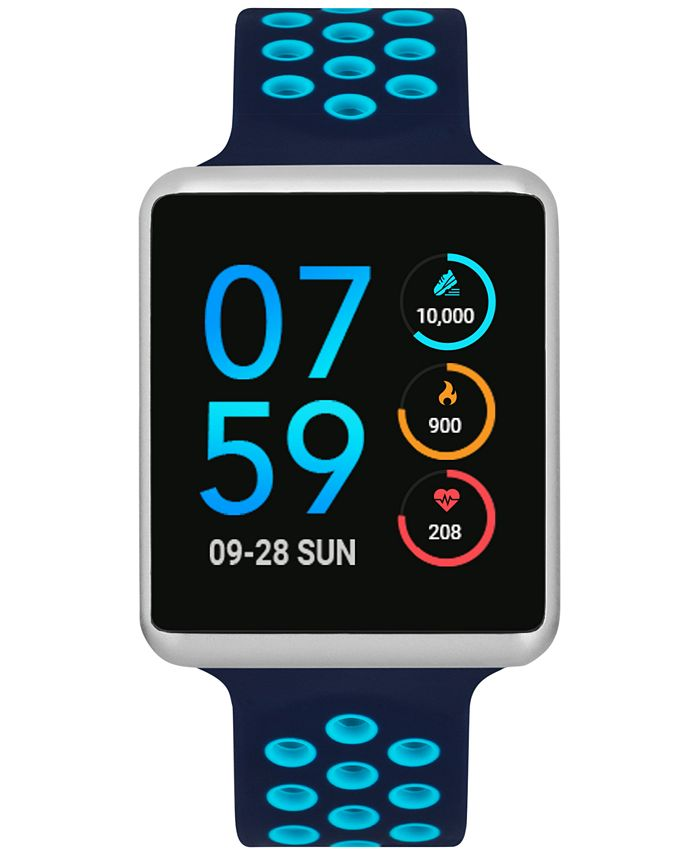 iTouch - Unisex Air Navy & Turquoise Silicone Strap Touchscreen Smart Watch 41x35mm
