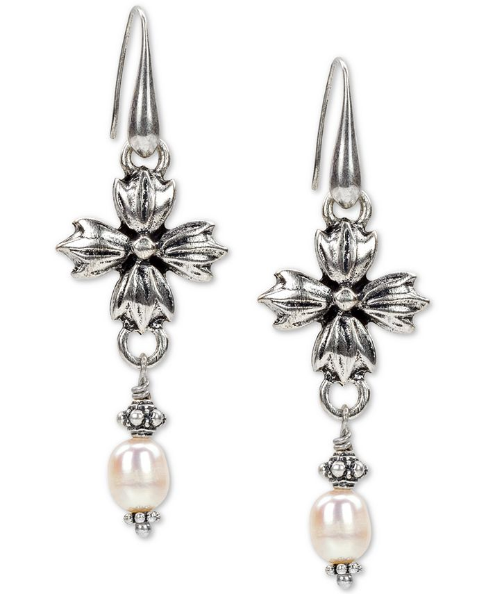 Patricia Nash - Silver-Tone Freshwater Pearl (8mm) Floral Drop Earrings