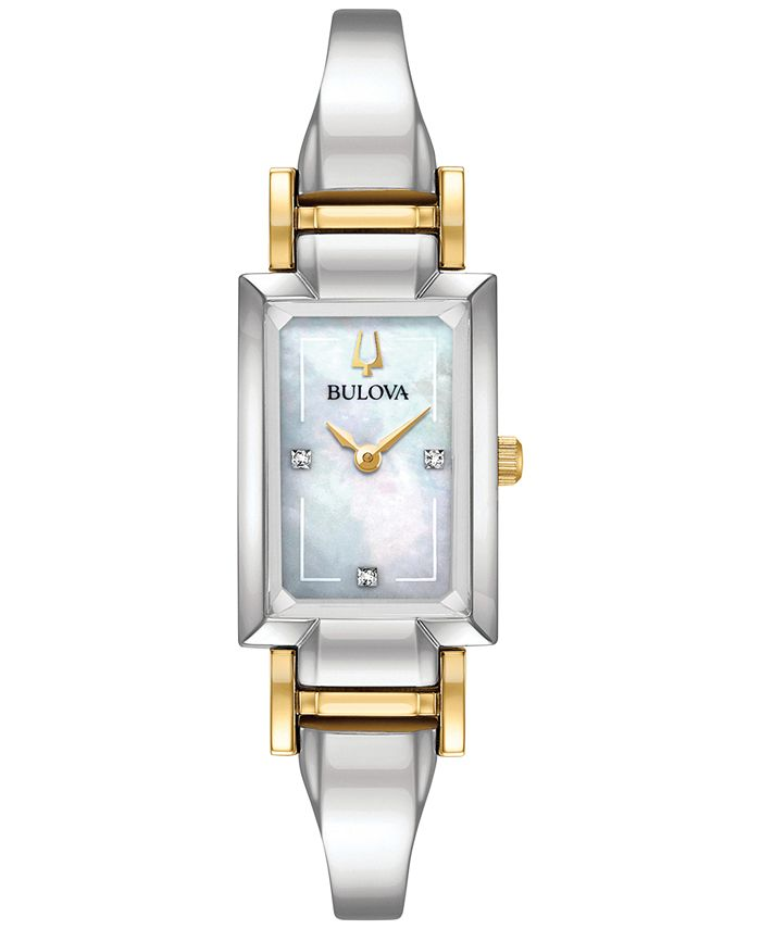 Bulova - Women's Classic Diamond Accent Two-Tone Stainless Steel Bangle Bracelet Watch 28x33mm