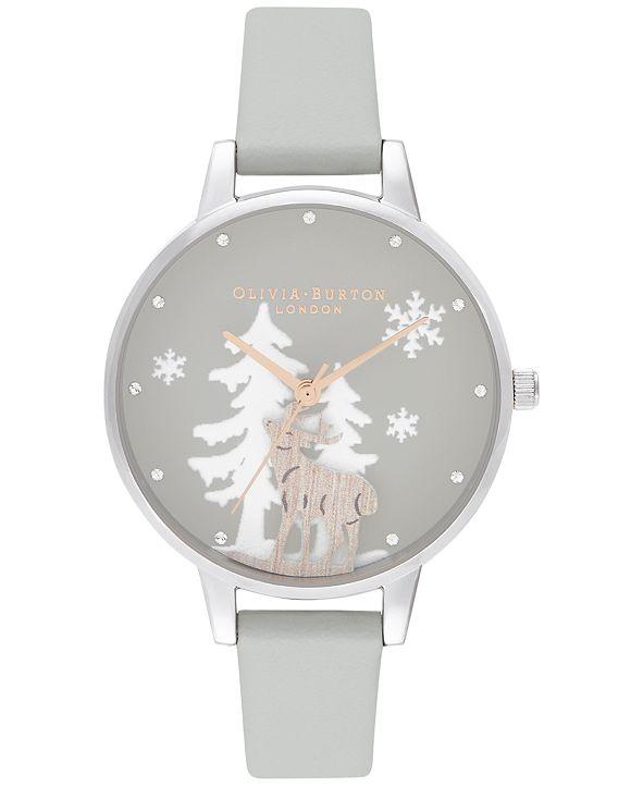 Olivia Burton Women's Winter Wonderland Gray Strap Watch 30mm