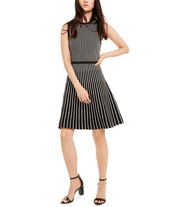 Anne Klein - Striped Fit & Flare Dress
