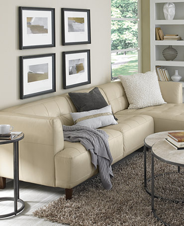 Alessia Leather Sectional Living Room Furniture Collection Furniture Macy