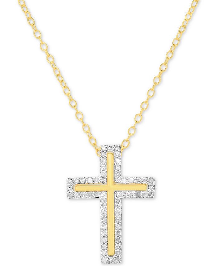 "Macy's - Diamond Cross 18"" Pendant Necklace (1/4 ct. t.w.) in 14k Gold-Plated Sterling Silver or Sterling Silver"