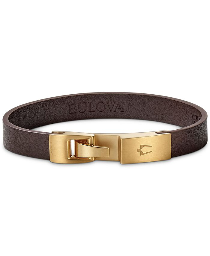 Bulova - Men's Leather Bracelet in Gold-Tone Stainless Steel