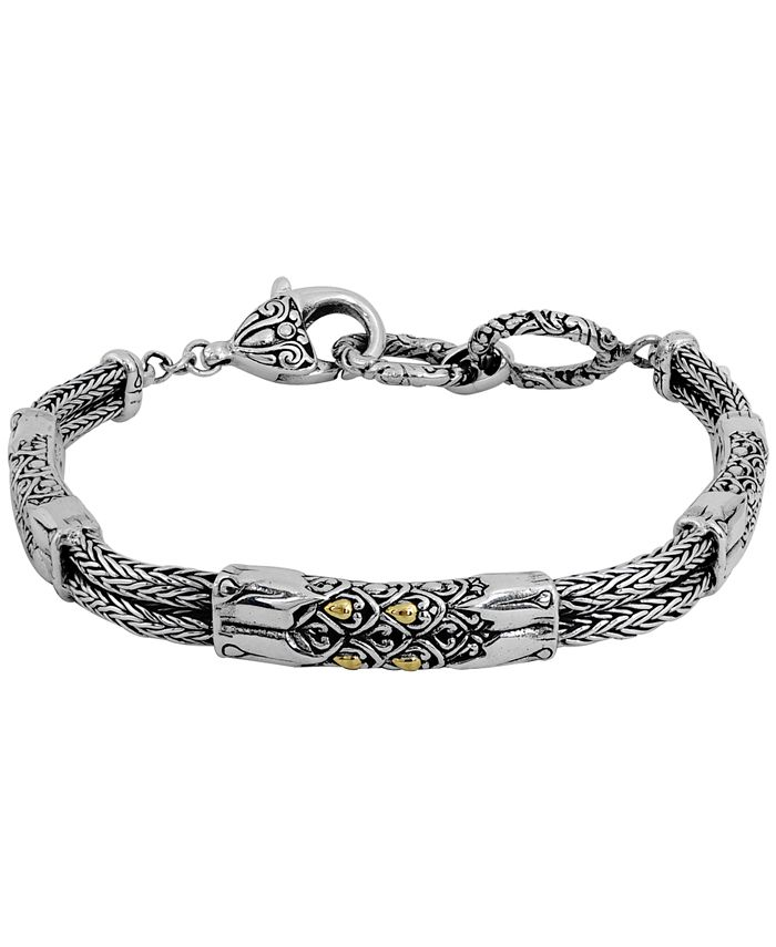 DEVATA - Dragon Skin Classic Bracelet with Dragon Bone Chain in Sterling Silver and 18k Yellow Gold Accents